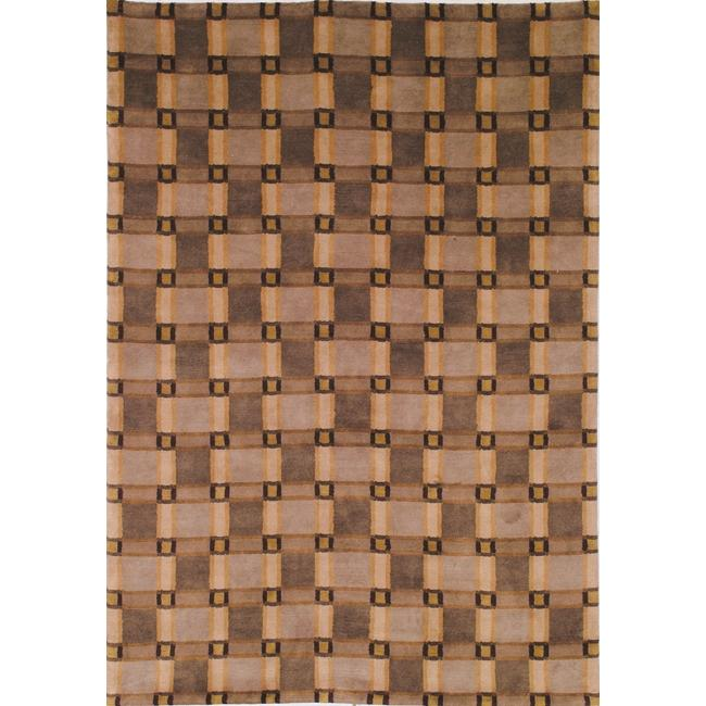Safavieh Hand-Knotted Lexington Beige Plaid Rectangular Wool Rug - 8' x 10'