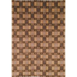 "Safavieh Hand-Knotted Lexington Beige Plaid Rectangular Wool Rug (7'6"" x 9'6"")"