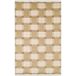 Safavieh Hand-knotted Lexington Plaid Ivory Wool Rug (4' x 6')