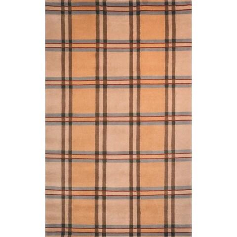 Safavieh Hand-knotted Lexington Plaid Beige Wool Rug - 5' x 8'