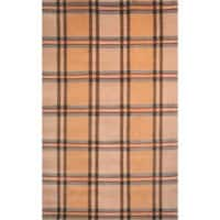 Safavieh Hand-knotted Lexington Plaid Beige Wool Rug - 6' x 9'