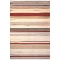 Safavieh Hand-knotted Lexington Stripes Beige/ Rust Wool Rug - 5' x 8'