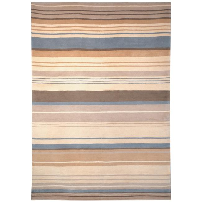 Safavieh Hand-knotted Lexington Stripes Beige/ Blue Wool Rug - 6' x 9'
