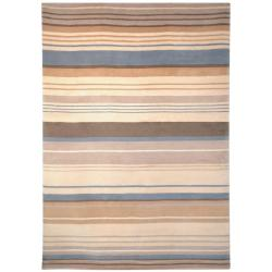 Safavieh Hand-knotted Lexington Stripes Beige/ Blue Wool Rug (6' x 9')