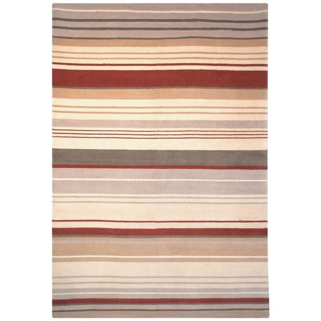 Safavieh Hand-knotted Lexington Stripes Beige/ Rust Wool Rug (6' x 9')