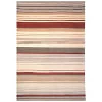 Safavieh Hand-knotted Lexington Stripes Beige/ Rust Wool Rug - Beige/Rust - 8' x 10'