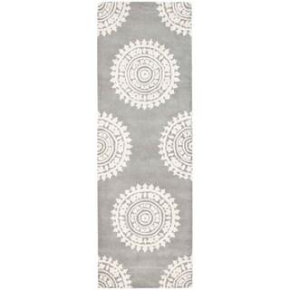 Safavieh Handmade Soho Chrono Grey/ Ivory N. Z. Wool Runner (2'6 x 8')