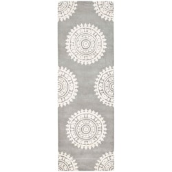 Safavieh Handmade Soho Chrono Grey/ Ivory N. Z. Wool Runner (2'6 x 8')