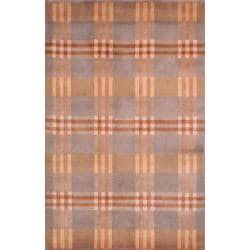 Safavieh Hand-knotted Lexington Plaid Multi Wool Rug (5' x 8')