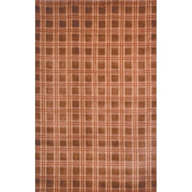 Safavieh Hand-knotted Lexington Plaid Beige Wool Rug - multi - 8' x 10'