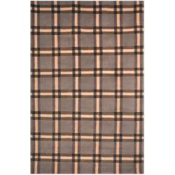 Safavieh Hand-knotted Lexington Plaid Grey Wool Rug (4' x 6')