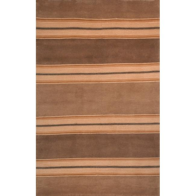 Safavieh Hand-knotted Lexington Stripes Beige Wool Rug - 8' x 10'