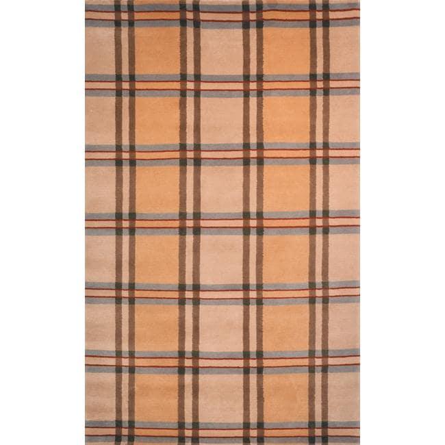 "Safavieh Hand-Knotted Lexington Beige Plaid Indoor Wool Rug (7'6"" x 9'6"")"