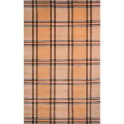 Safavieh Hand-Knotted Lexington Beige Plaid Indoor Wool Rug (8' x 10')