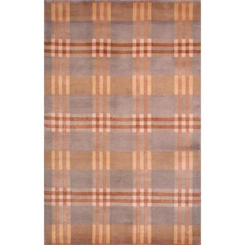 Safavieh Hand-knotted Lexington Plaid Multi Wool Rug - 8' x 10'