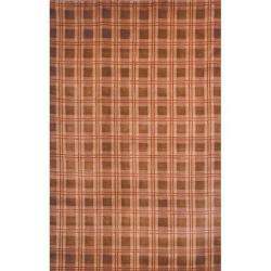 Safavieh Hand-Knotted Lexington Plaid Beige Indoor Wool Rug (5' x 8')