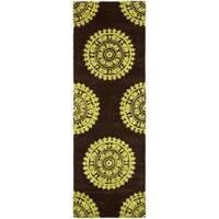 Safavieh Handmade Soho Chrono Brown/ Green N. Z. Wool Runner - 2'6 x 8'