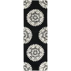 Safavieh Handmade Soho Chrono Black/ Ivory N. Z. Wool Runner (2'6 x 8')
