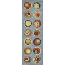 Safavieh Handmade Soho Modern Abstract Blue/ Multi Wool Runner Rug (2' 6 x 8')