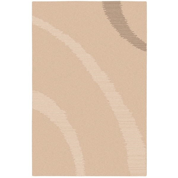 Hand-tufted Contemporary Solid Beige Piedmont Wool Area Rug - 8'x11'