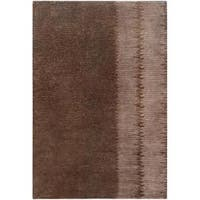 Hand-knotted Contemporary Brown Memorial Wool Abstract Area Rug - 5' x 8'