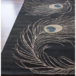 Thumbnail 3, nuLOOM Handmade Peacock Wool Rug (7'6 x 9'6). Changes active main hero.