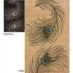 Thumbnail 1, nuLOOM Handmade Peacock Wool Rug (7'6 x 9'6).