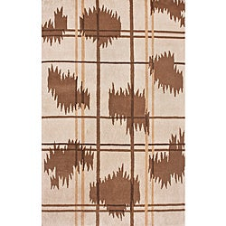 Hand-Knotted Ivory/Brown Luna Napalese New Zealand Wool Rug (5' x 8')