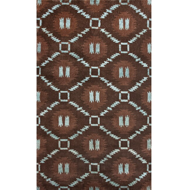 "Hand-Knotted Luna Nepalese Brown/Turquoise New Zealand Wool Rug - 7'6"" x 9'6"""