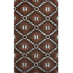 "Hand-Knotted Luna Nepalese Brown/Turquoise New Zealand Wool Rug - 7'6"" x 9'6"" - Thumbnail 0"