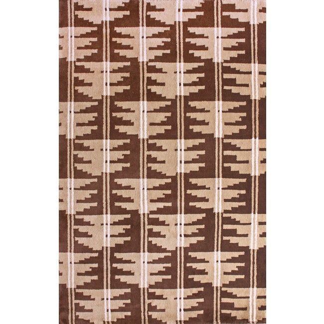Hand-Knotted Brown/Beige Luna Napalese New Zealand Wool Rug - 5' x 8'