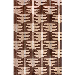 Hand-Knotted Brown/Beige Luna Napalese New Zealand Wool Rug (5' x 8')