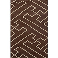 Contemporary Hand-Knotted Luna Napalese New Zealand Wool Rug (5' x 8')