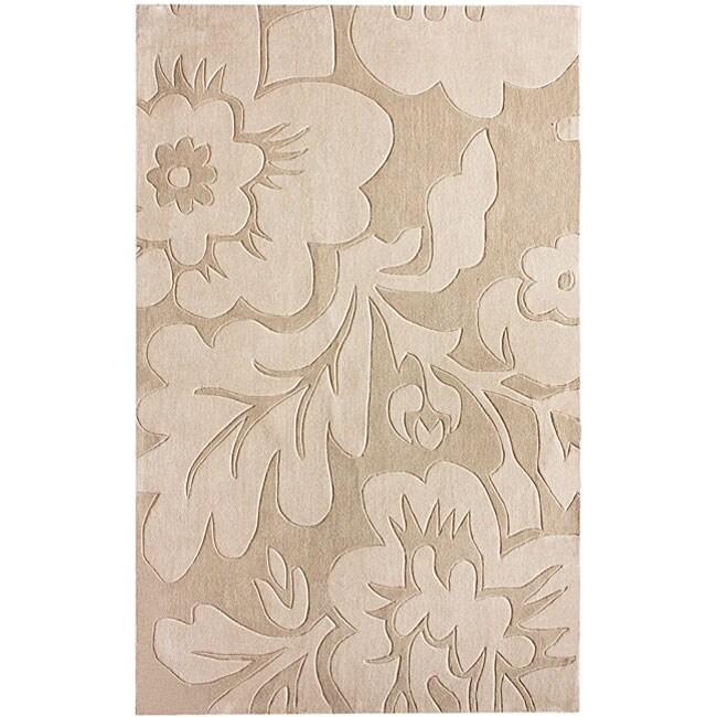 nuLOOM Handmade Pino Floral Beige Rug (5' x 8')