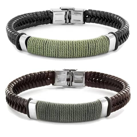 Men's Stainless Steel and Leather Bracelet - 8 Inches