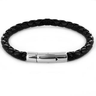 Crucible Black Imitation-leather and Stainless Steel Braided Bracelet