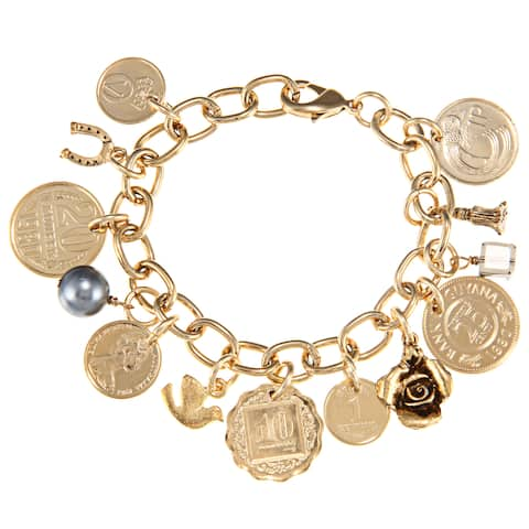 American Coin Treasures Goldtone Metal Coins Charm Bracelet with Certificate of Authenticity