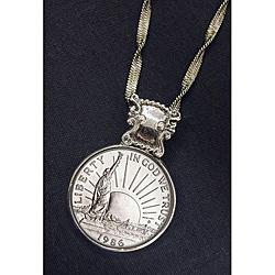 American Coin Treasures Silvertone1986 Statue Of Liberty Half Dollar Necklace