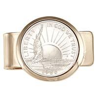 American Coin Treasures Goldtone 1986 Statue of Liberty Half Dollar Money Clip