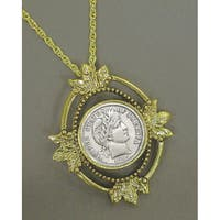 American Coin Treasures Goldtone Barber Dime Coin Necklace