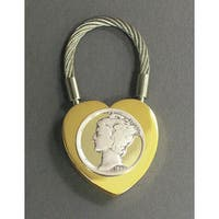 American Coin Treasures Collectible Two-Tone Heart Coin Keychain