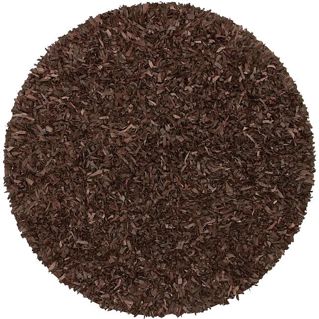 Hand-tied Brown Leather Rug (6' Round)