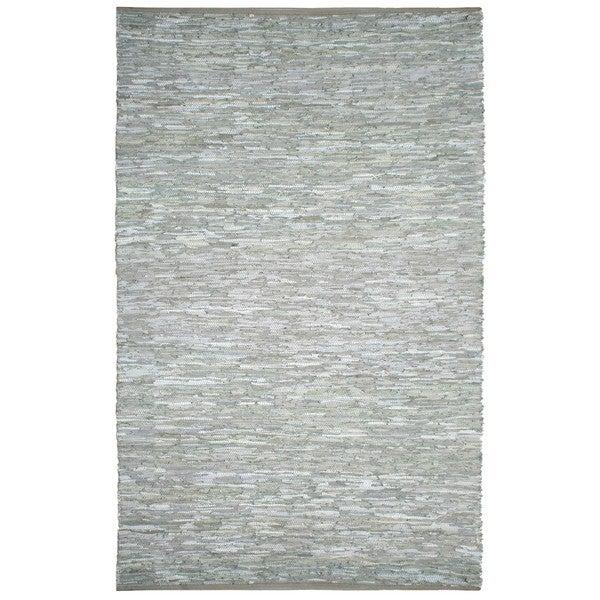 Hand-woven Matador White Leather Rug (9' x 12') - 9' x 12'