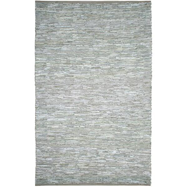 Hand-woven Matador White Leather Rug (8' x 10')