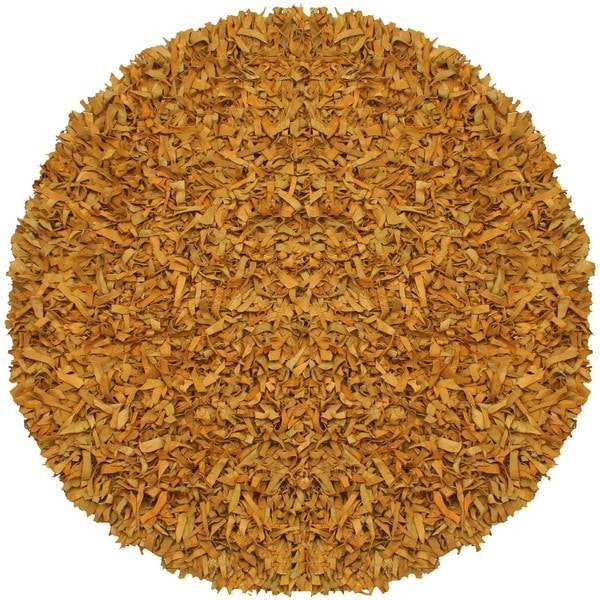 Hand-tied Gold Leather Rug (6' Round)