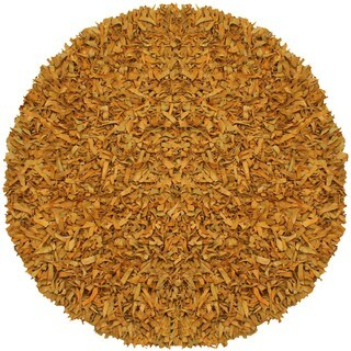 Hand-tied Gold Leather Rug (6' Round) - 6'