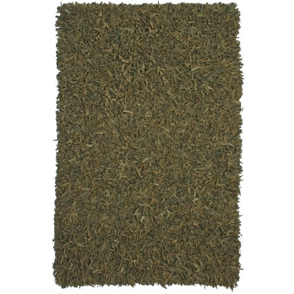 Hand-tied Green Leather Rug (8' x 10') - 8' x 10'