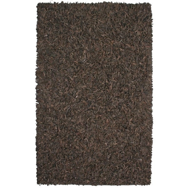 Hand-tied Brown Leather Rug - 8' x 10'