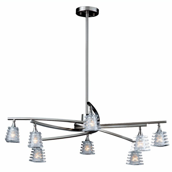 Milan Brushed Steel 8-light Chandelier
