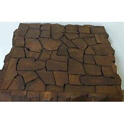 Reclaimed Teak Wood Jigsaw End Table (Thailand) - Thumbnail 1